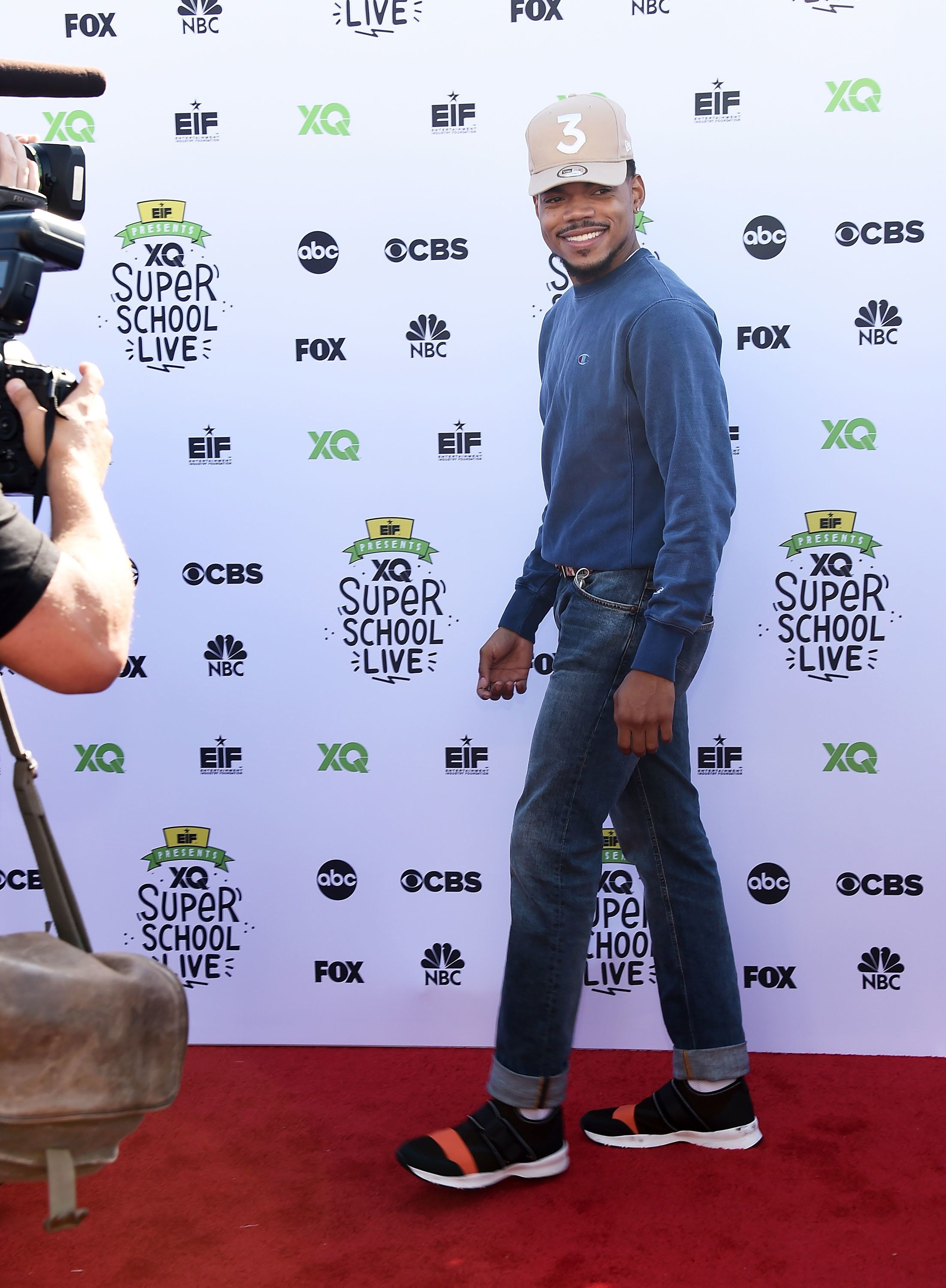 SANTA MONICA, CA - SEPTEMBER 08:  Chance the Rapper arrives at the EIF Presents: XQ Super School Live event at The Barker Hanger on September 8, 2017 in Santa Monica, California.  (Photo by Amanda Edwards/WireImage)
