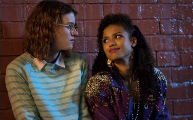 "Mackenzie Davis and Gugu Mbatha-Raw in ""Black Mirror: San Junipero."""