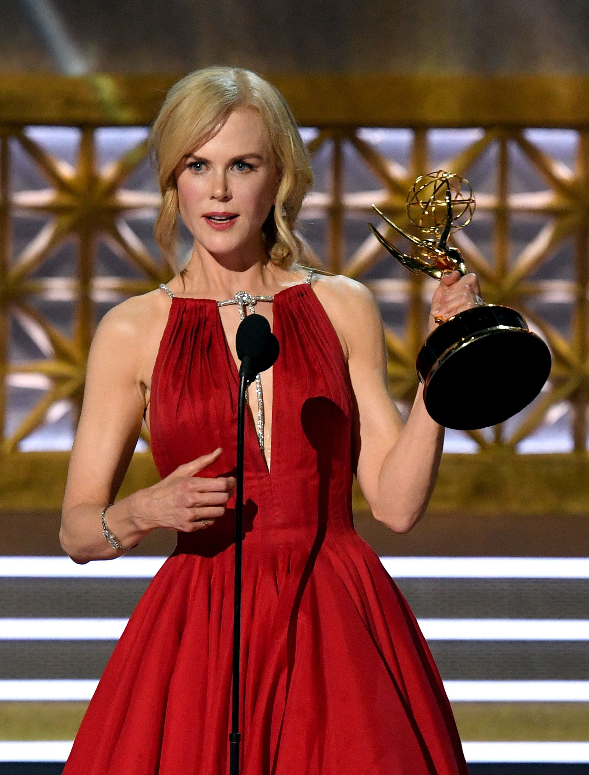 LOS ANGELES, CA - SEPTEMBER 17:  Actor Nicole Kidman accepts Outstanding Lead Actress in a Limited Series or Movie for 'Big Little Lies' onstage during the 69th Annual Primetime Emmy Awards at Microsoft Theater on September 17, 2017 in Los Angeles, California.  (Photo by Kevin Winter/Getty Images)