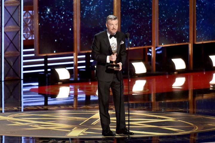 Charlie Brooker accepts the Outstanding Writing for a Limited Series, Movie, or Dramatic Special award at the 69th Annua