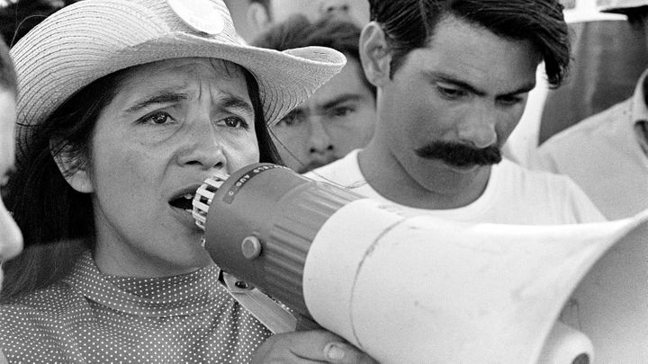Dolores Huerta organizing marchers in 1969.