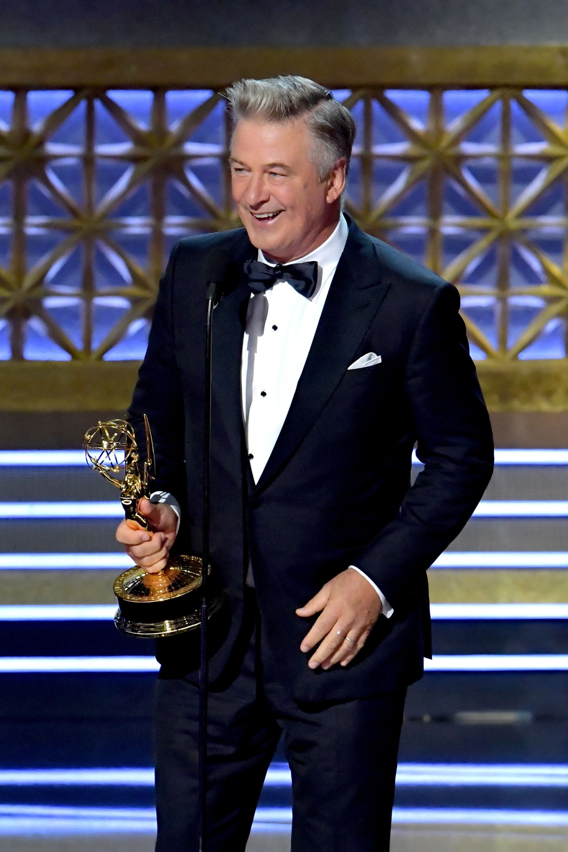 LOS ANGELES, CA - SEPTEMBER 17:  Actor Alec Baldwin accepts the Outstanding Supporting Actor in a Comedy Series award for 'Saturday Night Live' onstage during the 69th Annual Primetime Emmy Awards at Microsoft Theater on September 17, 2017 in Los Angeles, California.  (Photo by Lester Cohen/WireImage)