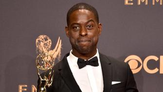 LOS ANGELES, CA - SEPTEMBER 17:  Actor Sterling K. Brown, winner of the award for Outstanding Lead Actor in a Drama Series for 'This Is Us,' poses in the press room during the 69th Annual Primetime Emmy Awards at Microsoft Theater on September 17, 2017 in Los Angeles, California.  (Photo by David Crotty/Patrick McMullan via Getty Images)