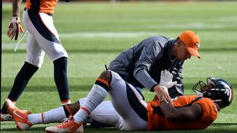 DENVER, CO - SEPTEMBER 17: Bennie Fowler (16) of the Denver Broncos is checked on after being hurt on a play in the second quarter of the game against the Dallas Cowboys. The Denver Broncos hosted the Dallas Cowboys at Sports Authority Field at Mile High in Denver, Colorado on Sunday, September 17, 2017. (Photo by John Leyba/The Denver Post via Getty Images)