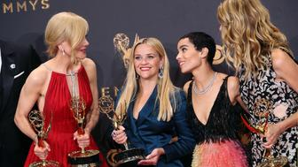 LOS ANGELES, CA - SEPTEMBER 17:  (L-R) Actresses Nicole Kidman, Reese Witherspoon, Zoe Kravitz and Laura Dern, winners of Outstanding Limited Series for 'Big Little Lies', pose in the press room during the 69th Annual Primetime Emmy Awards at Microsoft Theater on September 17, 2017 in Los Angeles, California.  (Photo by David Livingston/Getty Images)