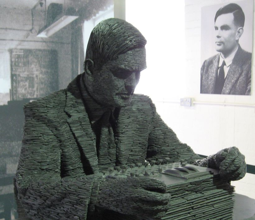 Statue of Alan Turing at Bletchley Park, where he led the effort to decode Enigma during World War II.