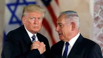 U.S. President Donald Trump and Israeli Prime Minister Benjamin Netanyahu shake hands after Trump's address at the Israel Museum in Jerusalem May 23, 2017. REUTERS/Ronen Zvulun