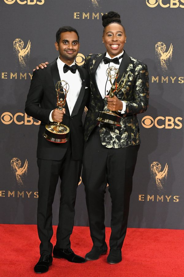 With Aziz Ansari at the Emmy Awards in Los Angeles.