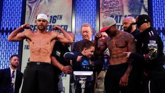 Boxing - Billy Joe Saunders and Willie Monroe Jr Weigh-In - BT Sport Production Hub, London, Britain - September 15, 2017   A child on the stage as Willie Monroe Jr (R), promoter Frank Warren (C) and Billy Joe Saunders look on during the weigh-in   Action Images via Reuters/Tony O'Brien