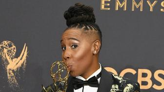 LOS ANGELES, CA - SEPTEMBER 17:  Writer Lena Waithe, winner of the award for Outstanding Writing for a Comedy Series for 'Master of None,' poses in the press room during the 69th Annual Primetime Emmy Awards at Microsoft Theater on September 17, 2017 in Los Angeles, California.  (Photo by Steve Granitz/WireImage)
