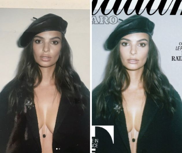 Emily Ratajkowski shared the before photo on the left. The photo on the right is after alterations were