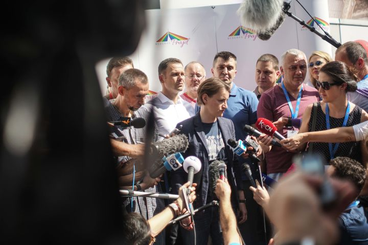 Serbian openly lesbian PM Ana Brnabic giving statements to the press