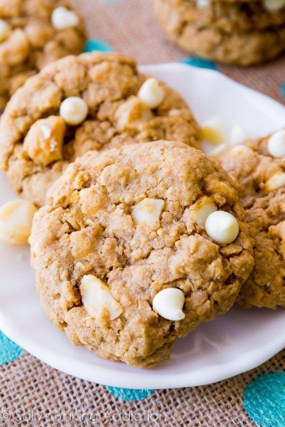 "<strong>Get the <a href=""https://sallysbakingaddiction.com/2014/04/14/white-chocolate-macadamia-nut-oatmeal-cookies/"" target="