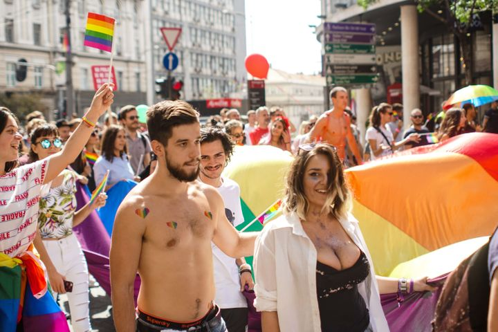 The Pride march went through central streets of Belgrade