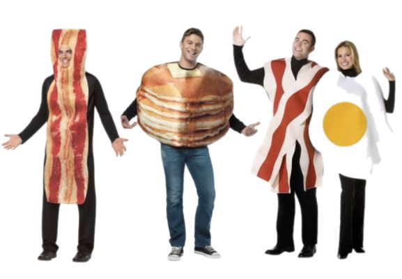 "The tastiest group costume ever. Shop <a href=""https://www.walmart.com/ip/Bacon-and-Eggs-Couples-Adult-Halloween-Costume/1689"