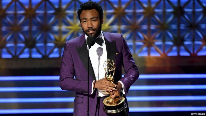 Donald looking fly with his much-deserved Emmy.