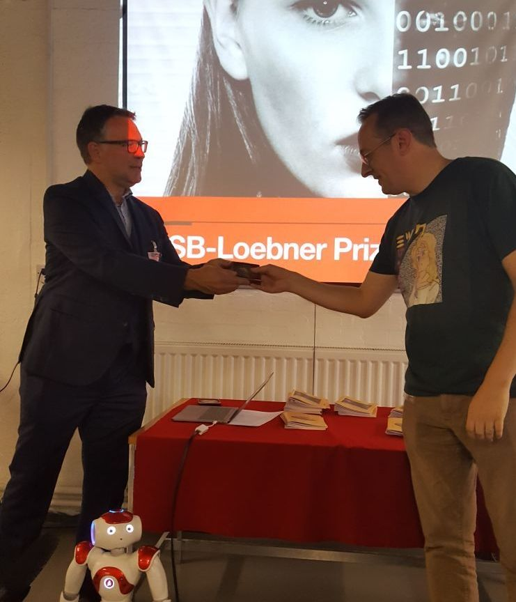 Steve Worswick receives the  Loebner Prize on September 16, 2017 at Bletchley Park in England.