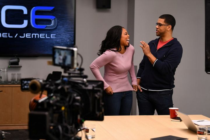Jemele Hill (L) and Michael Smith on Feb 1, 2017.
