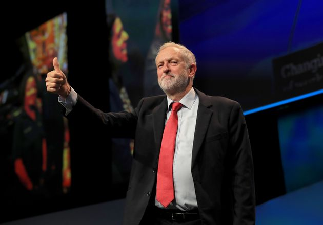 Labour leader Jeremy Corbyn speaking at the TUC conference at the Brighton Centre in