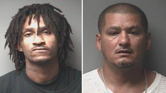 From left: Vernon Barrett Jr and Dion Santiago were arrested on Saturday following a neighborhood shooting involving a clown mask