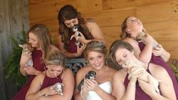 Bride's Wedding Party Holds Rescue Puppies Instead Of