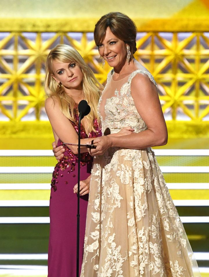 Anna Faris and Allison Janney speak onstage during the 69th Annual Primetime Emmy Awards.
