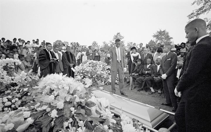 Graveside services at Birmingham's Woodlawn cemetery for Cynthia Dianne Wesley, one of the victims of the 9/15/1963
