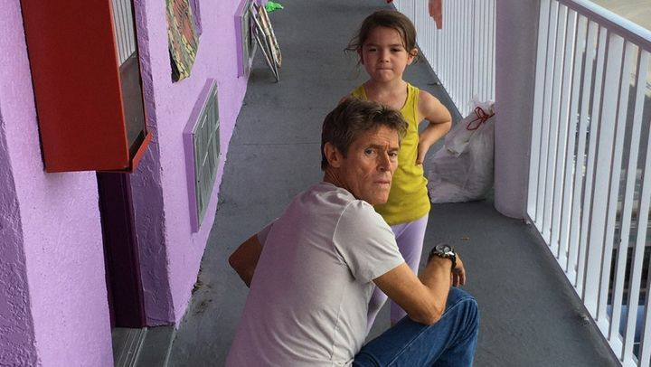 "Willem Dafoe and Brooklynn Prince star in ""The Florida Project."""