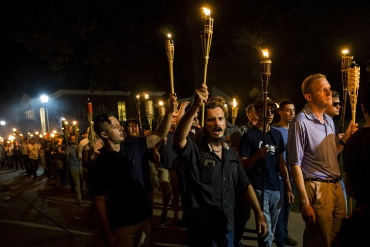 Neo-Nazisand white supremacists march through the University of Virginia campus in Charlottesville, Virginiaon Au