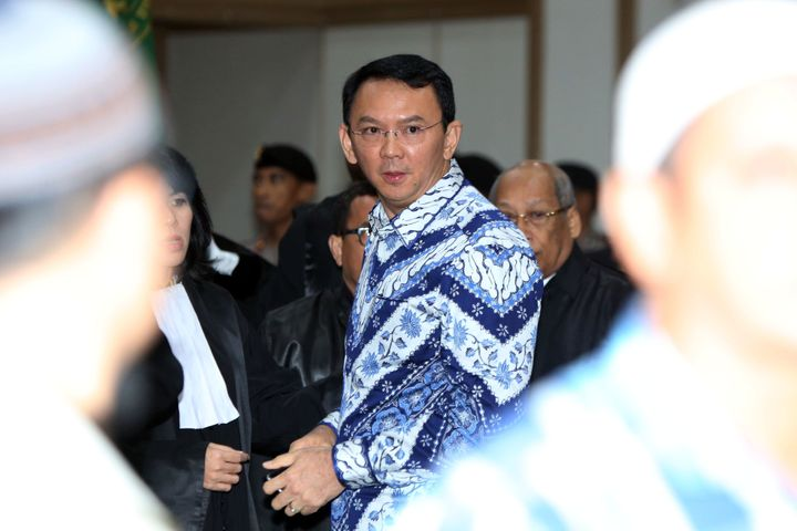 Purnama arrives at a courtroom at the conclusion of his blasphemy trial in Jakarta on May 9.