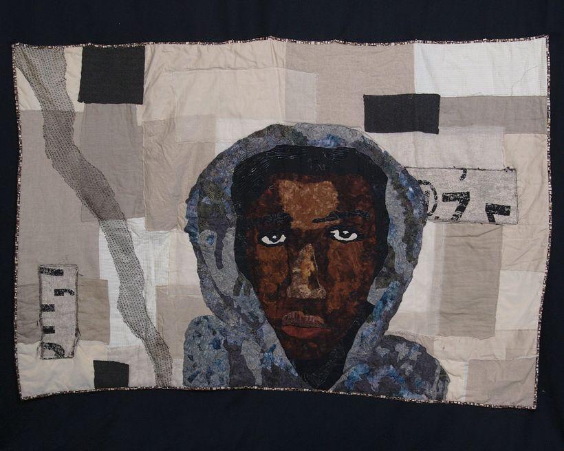 <em>RIP Trayvon</em>, Sara Trail's quilt depicting Treyvon Martin.