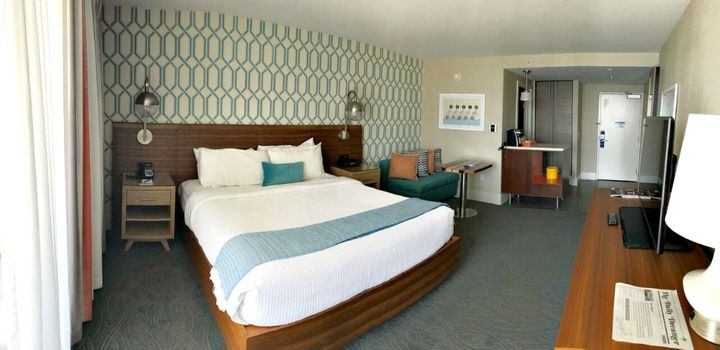 <p>A newly remodeled room at the Dream Inn</p>