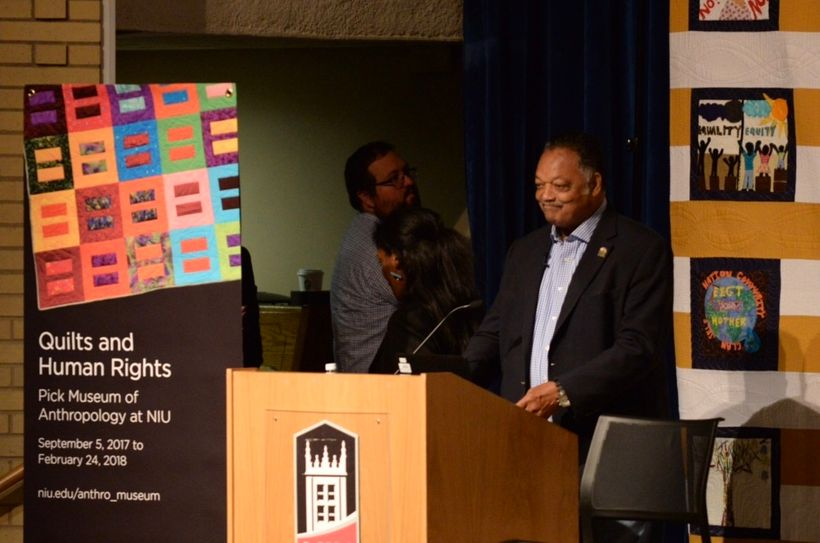 Reverend Jesse Jackson Sr. speaking at the Quilts and Human Rights Exhibition.