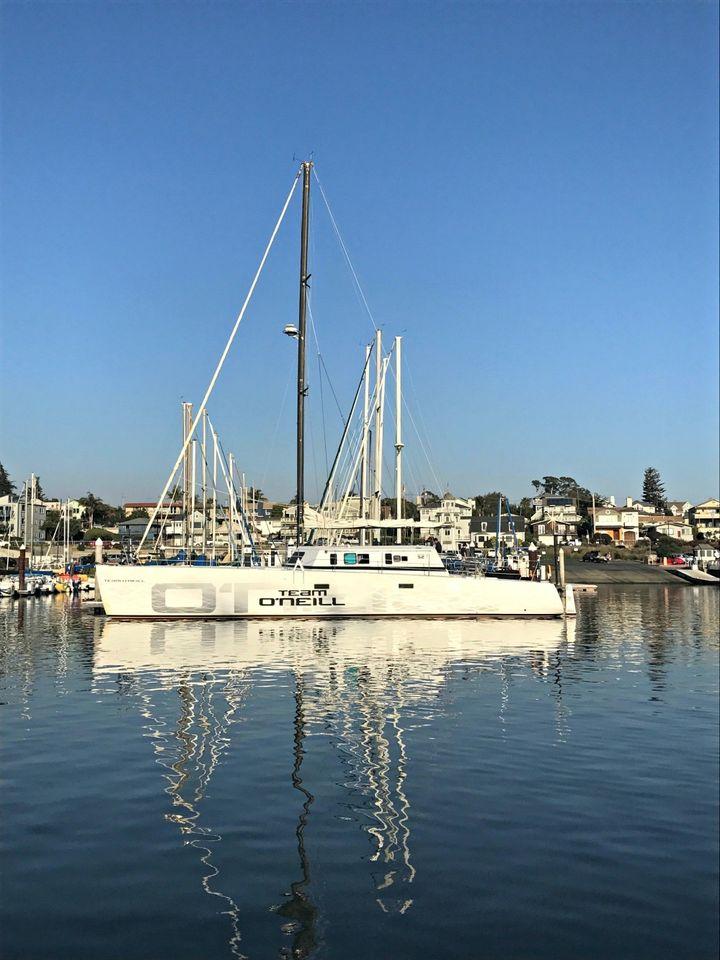 <p>Jack O'Neill's 65-foot catamaran in Santa Cruz Harbor</p>