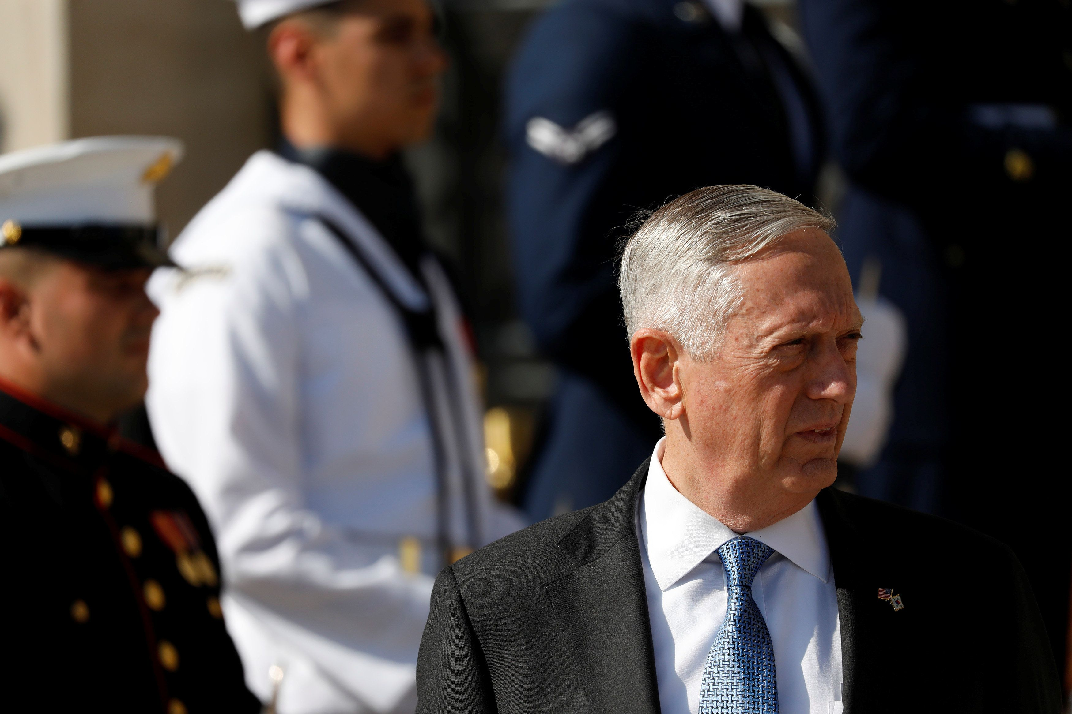 U.S. Defense Secretary James Mattis awaits the arrival of South Korean Defense Minister Song Young-Moo prior to a honor cordon at the Pentagon in Arlington, Virginia, U.S., August 30, 2017. REUTERS/Aaron P. Bernstein