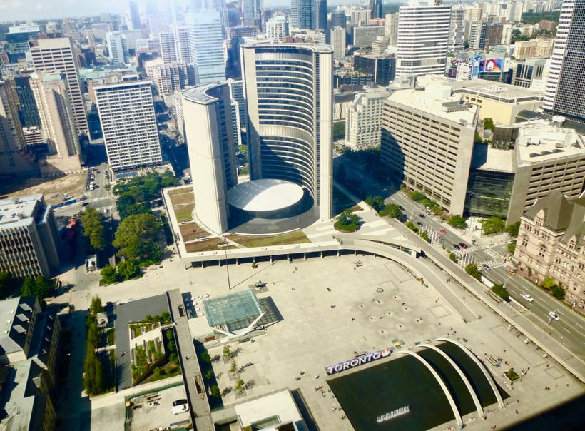 Club Lounge Dining room's view of Toronto's City Hall in Nathan Phillips Square.