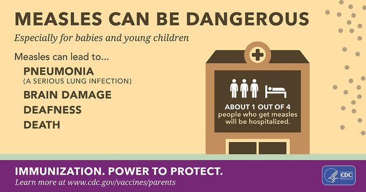 Measles can be dangerous. It can lead to pneumonia, brain damage, deafness, death.