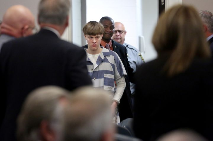 Dylann Roof is escorted into the court room at the Charleston County Judicial Center in Charleston, South Carolina on April 1