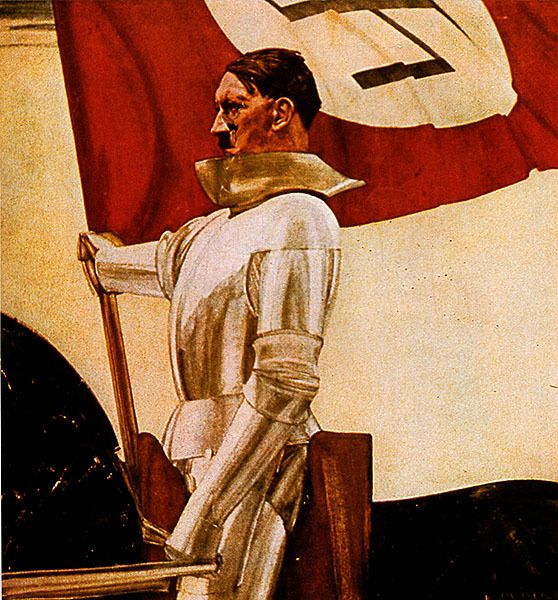 "Nazi Propaganda Poster Showing Hitler as a Knight (""The Standard Bearer"" [1935] by Hubert Lanzinger)"