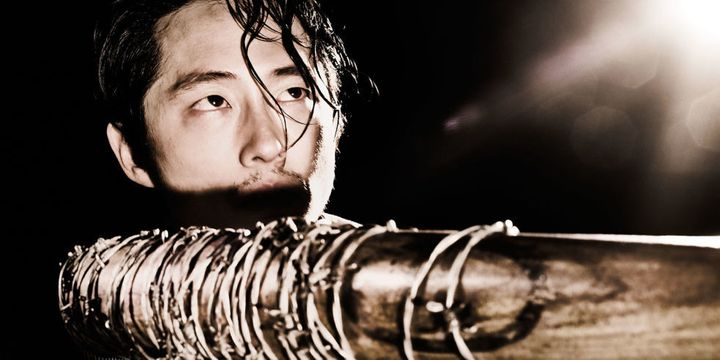The character Glenn Rhee (played by Korean-American actor Steven Yeun), from <em>The Walking Dead</em>, about to be beaten to