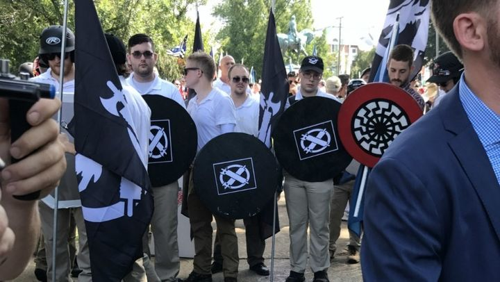 "White supremacists playing ""dress up"" as medieval knights, including the man accused of running over protestors in his car in"