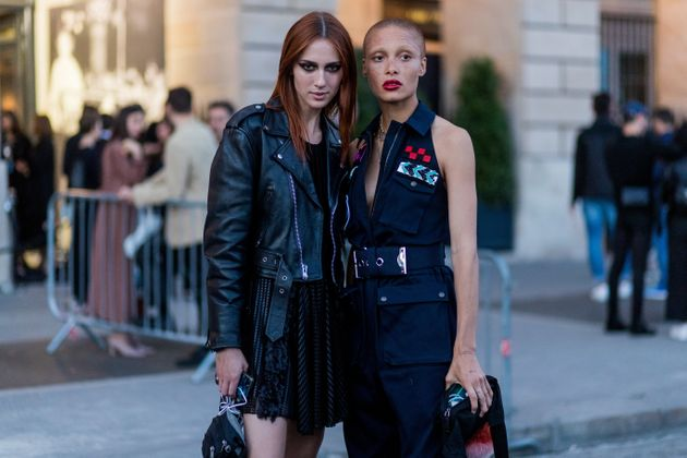 Teddy Quinlivan and Adwoa Aboah outside Miu Miu Cruise Collection during Paris Fashion Week - Haute Couture...