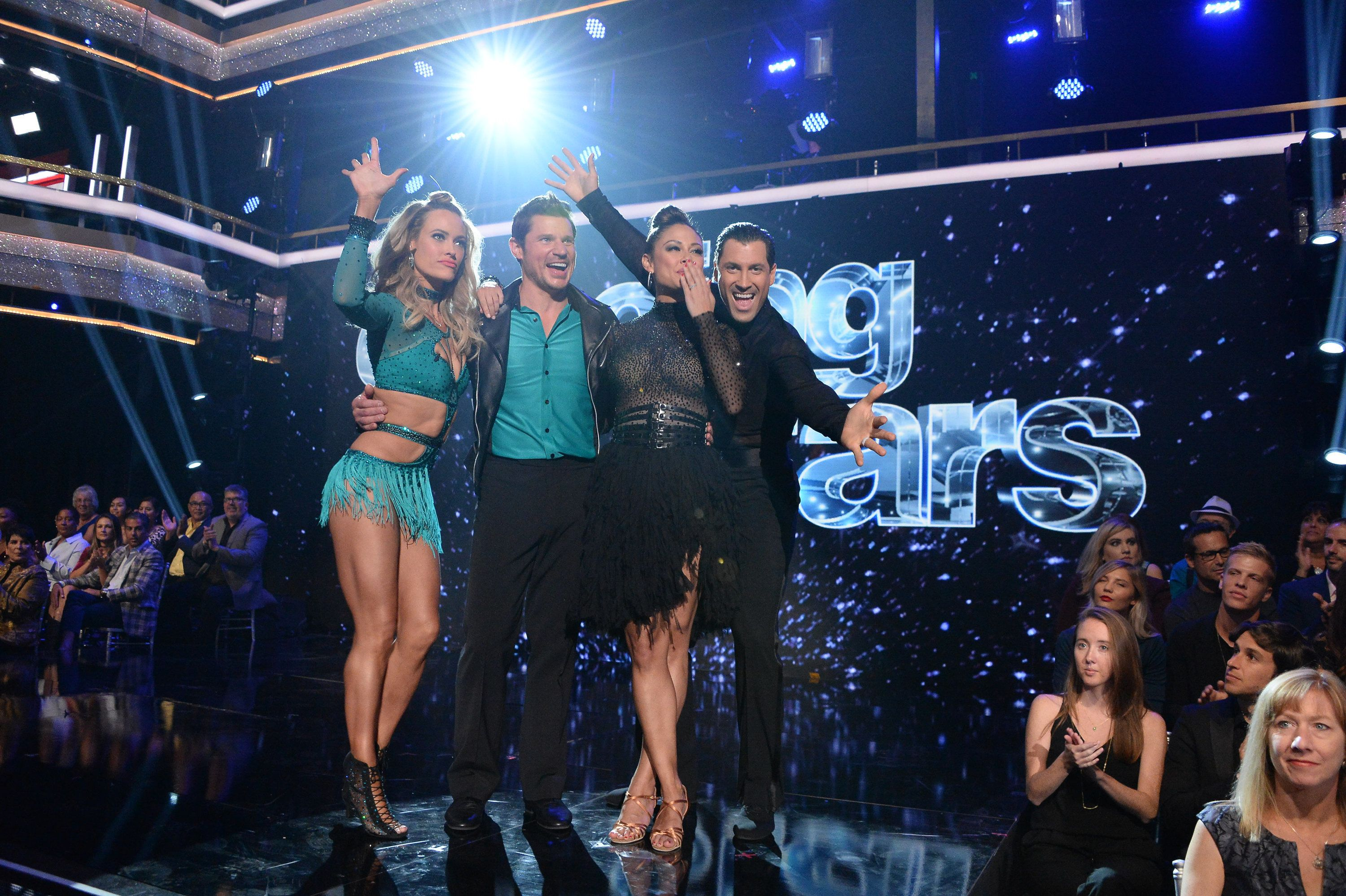 DANCING WITH THE STARS - 'Episode 2501' - 'Dancing with the Stars' is back with a new, dynamic cast of celebrities who are ready to hit the ballroom floor and celebrate the show's landmark 25th season. The competition begins with the two-hour season premiere, live, MONDAY, SEPTEMBER 18 (8:00-10:01 p.m. EDT), on The ABC Television Network. (Eric McCandless via Getty Images) PETA MURGATROYD, NICK LACHEY, VANESSA LACHEY, MAKSIM CHMERKOVSKIY