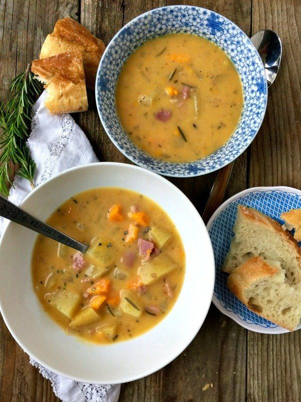 """<strong>Get the <a href=""""http://www.mountainmamacooks.com/2017/01/slow-cooker-rosemary-potato-soup-ham/"""" target=""""_blank"""">Slow"""