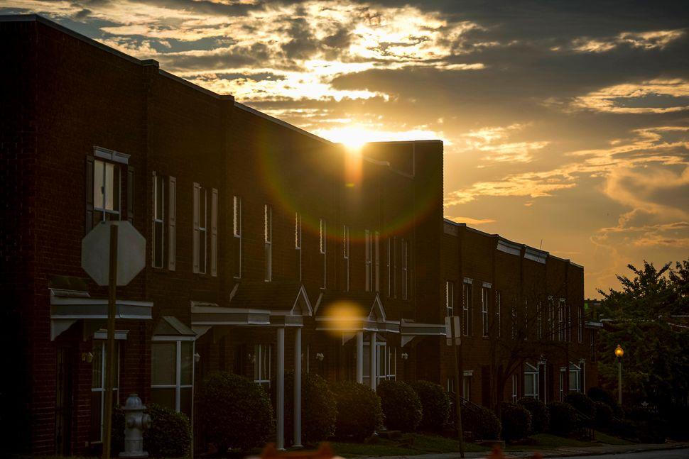 The setting sun in Memphis.