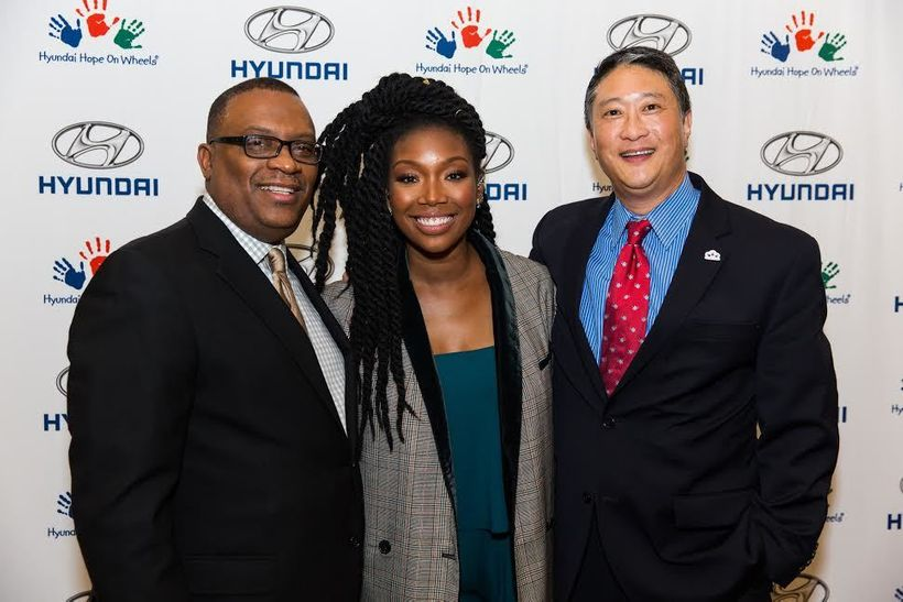 (l to r) Zafar Brooks (Hyundai), Brandy, David Kim (Hyundai)