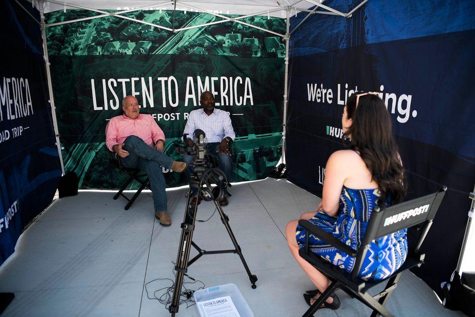 Jenna Amatulli interviews Reggie Davis, left, and Andy Nix.