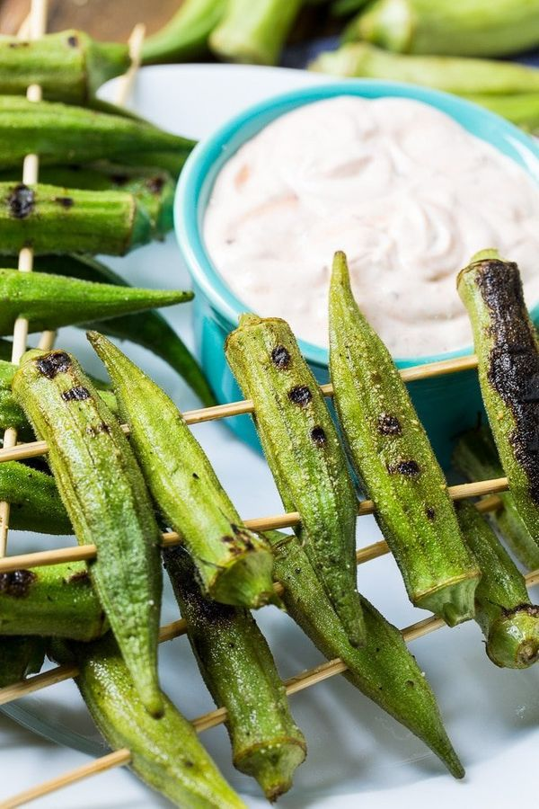 "<strong>Get the <a href=""https://spicysouthernkitchen.com/grilled-okra-with-spicy-chipotle-sauce/"" target=""_blank"">Grilled Ok"