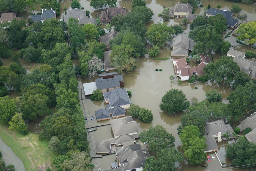 Aerial view after Hurricane Harvey's record rainfall.