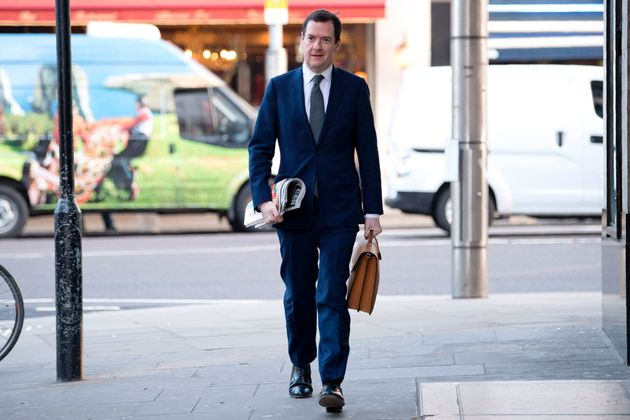 Former Chancellor of the Exchequer, George Osborne, arrives on his first day at work as editor of the...